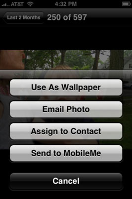 Tap the Send to MobileMe option.