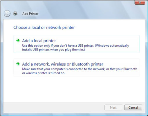 The Add Printer Wizard.