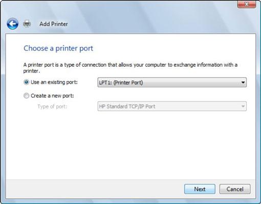 The Select a Printer Port dialog box.