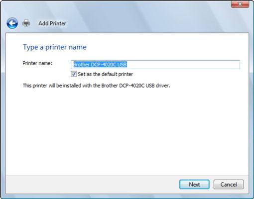 The Type a Printer Name dialog box.