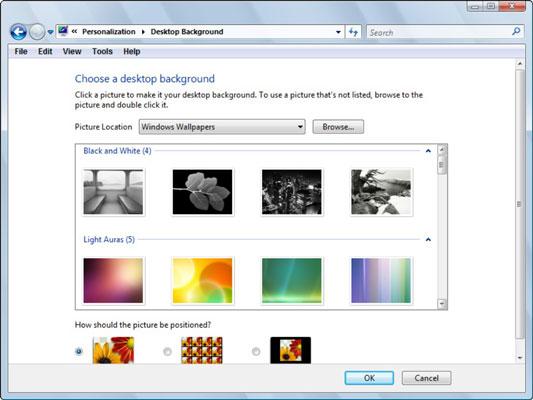 The Desktop Background dialog box.
