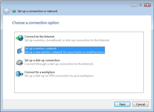 The Choose a Connection Option window.