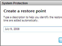 System Protection box in Windows Vista.