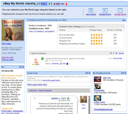 A My World page on eBay.