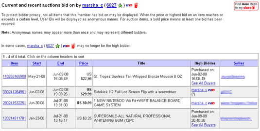 Bidder Search results for a bidder — note that the Nintendo Wii Fit auction hasn't ended yet.