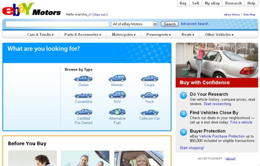 The eBay Motors home page.