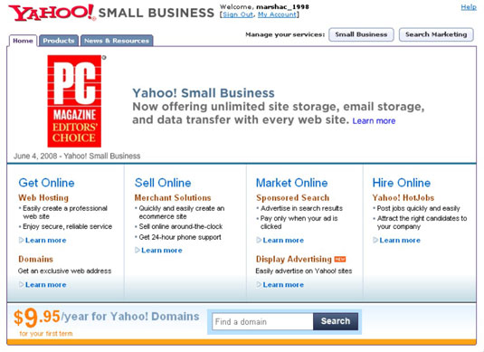 Yahoo's award-winning Web-hosting services.