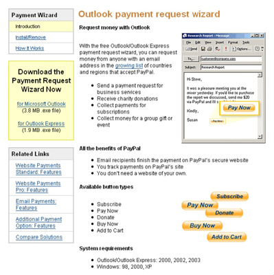 The super-tool — the Outlook Payment Wizard.