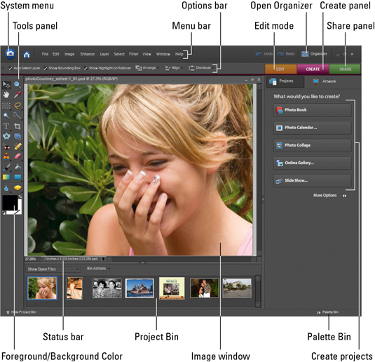 Photoshop screen with all the major elements explained.