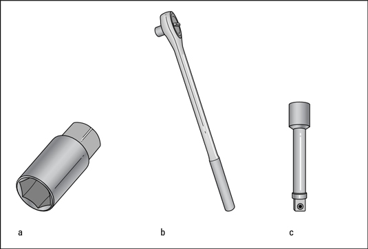 A spark-plug socket (a), a ratchet handle (b), and an extension bar (c).