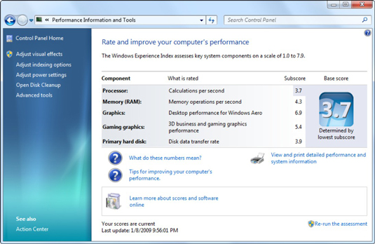 The Windows Experience Index gives you a simple, unbiased overview of a PC's performance.