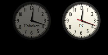 The opacity of the clock on the right is 100%; the clock on the left has an opacity of 40%.