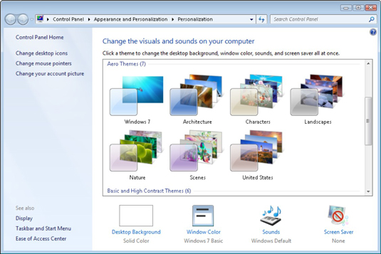 Choose a preconfigured theme to change how Windows looks and sounds.
