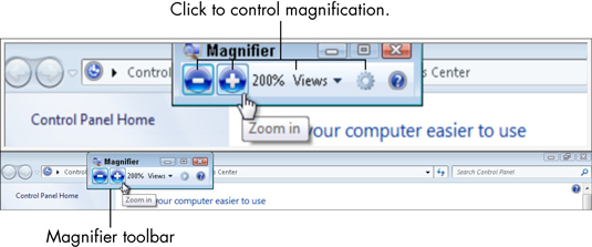The Magnifier toolbar.