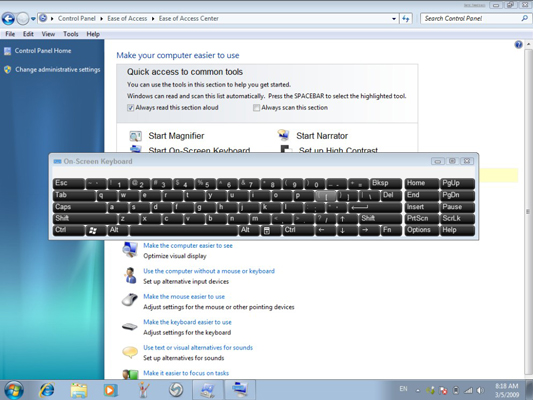 How to Use the On-Screen Keyboard in Windows 7 - dummies