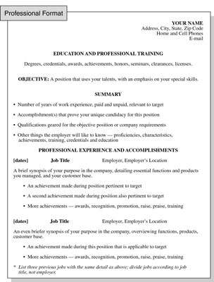 Professional Resume Format: Focusing on Formal Training and ...