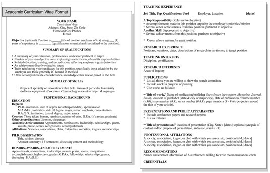 academic curriculum vitae resume format  jobs for phds