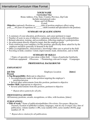 International Curriculum Vitae Resume Format For Overseas Jobs Dummies