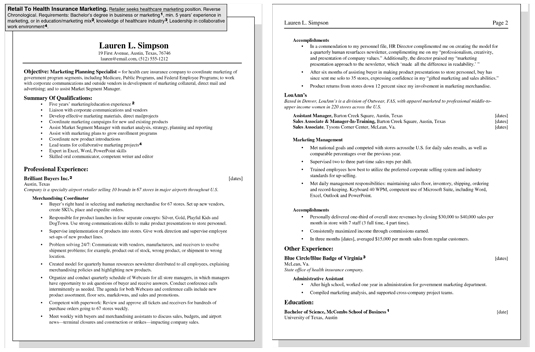 job resume qualifications