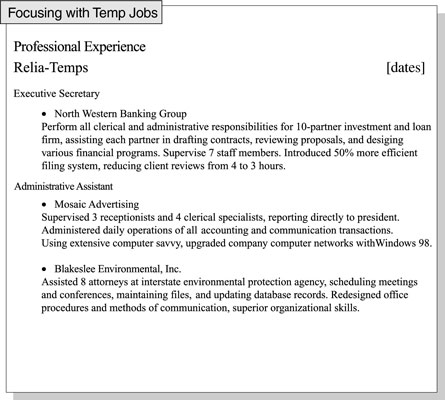 How To Focus A Resume On Relevant Job Experience Dummies