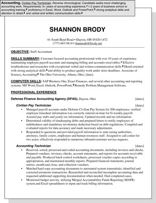 sample resume for an accounting position dummies