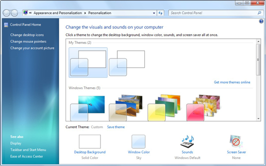 Windows hops to the Control Panel's Personalization pane.
