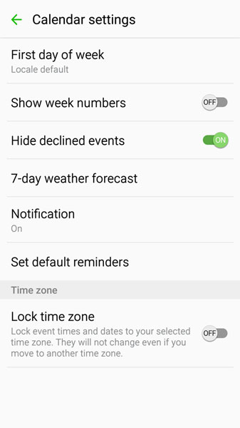 The Galaxy S7's Calendar Settings - dummies