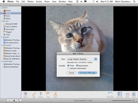 Prepare to send an image through Apple Mail.