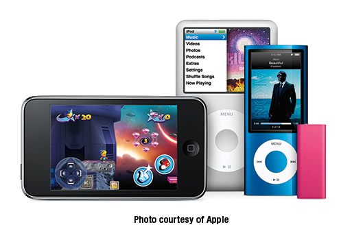 The 2009 iPod lineup: (from left to right) iPod touch, iPod classic, iPod nano, and iPod shuffle
