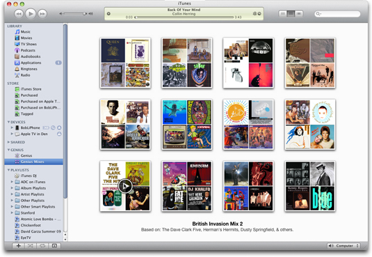Genius Mixes are generated based on the contents of your iTunes music library.