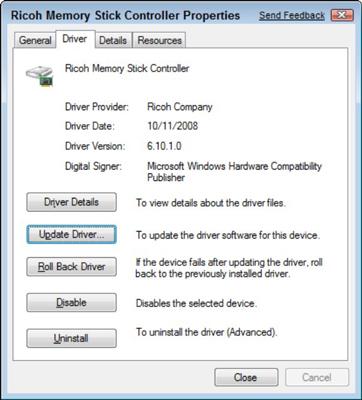 The Properties dialog box, Driver tab.