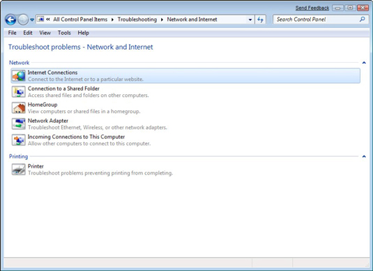 Windows Control Panel's Troubleshooting guide for the network.