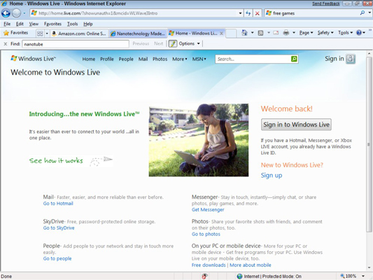 The Windows Live sign-in screen