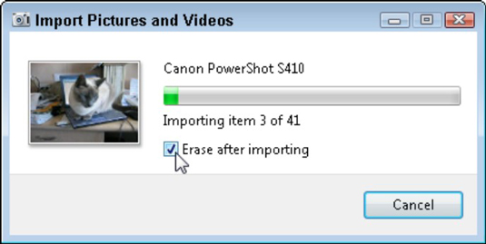 Select the Erase After Importing check box to free up your camera for more photos.