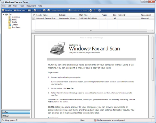 how to send and receive a fax in windows 7 - dummies