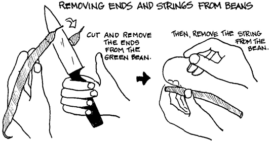 Removing the ends and strings from green beans.