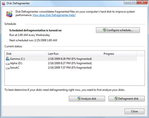Windows 7 automatically defragments once a week.
