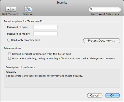 can i password protect a word document mac
