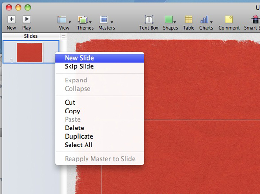 Add new slides or move them around from the Slides list.
