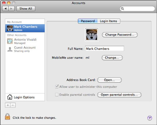 Configuring accounts is easy from System Preferences.