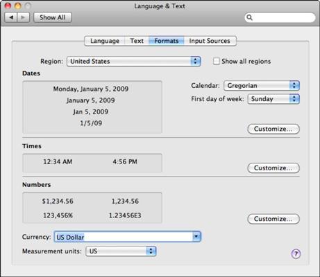 The Language & Text pane has four tabs.