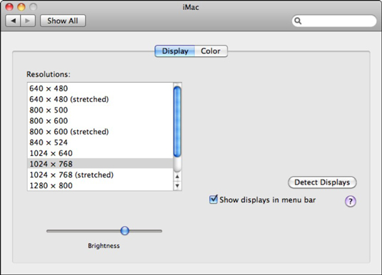 Configure your Mac's display settings from this pane.