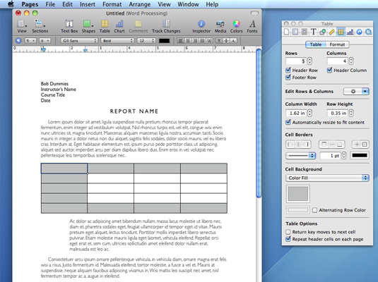 how to add to a table on word mac
