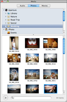 Use the Snow Leopard Pages Media Browser to insert photos.