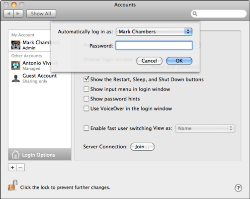 Never set the Automatic Login feature to an admin-level account unless  you re sure to be the only one using your Mac. If the computer is rebooted 627dd7c99
