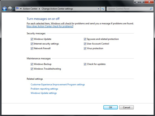 How to Disable Notifications from the Windows 7 Action