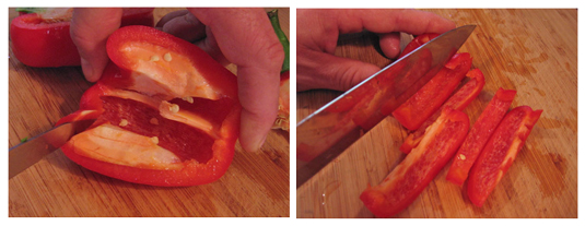 Preparing a pepper for a vegetable platter.