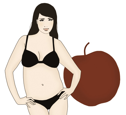 An apple-shaped woman.