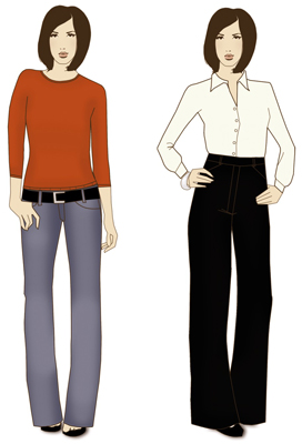 A don't (left) and a do (right) for long-waisted women.