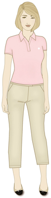Khaki pants and ballet flats can be a stylish, comfortable work outfit.